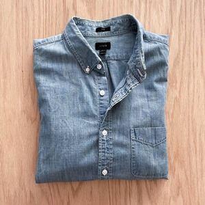 J. Crew Chambray Denim Workshirt Shirt Blue Slim